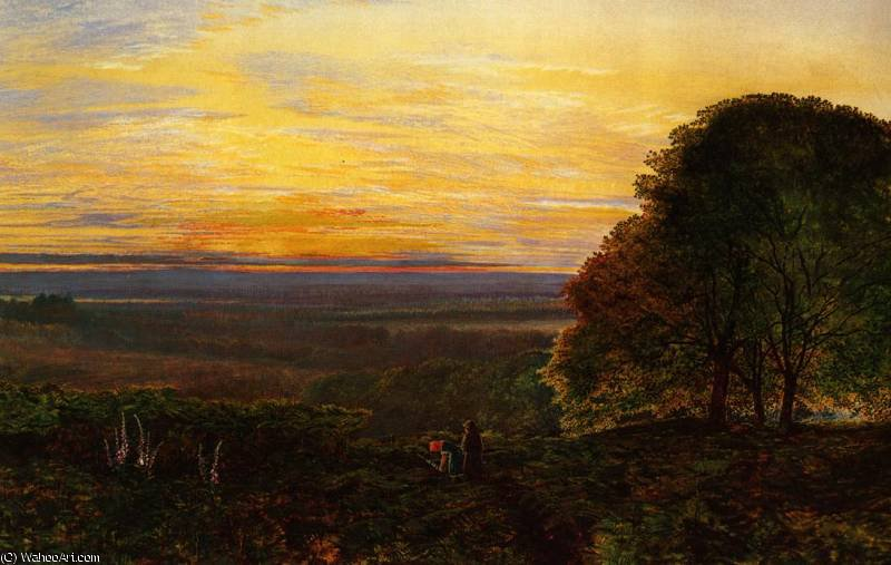 Sunset from Chilworth Common, Hampshire by John Atkinson Grimshaw (1836-1893, United Kingdom) | Museum Art Reproductions | ArtsDot.com