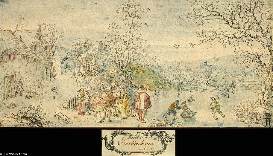 Winter Landscape with Figures by Denis Van Alsloot (1570-1626, Belgium)