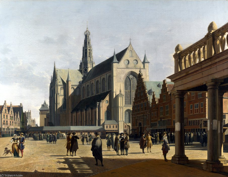 The Market Place and the Grote Kerk at Haarlem by Gerrit Adriaenszoon Berckheyde (1638-1698)