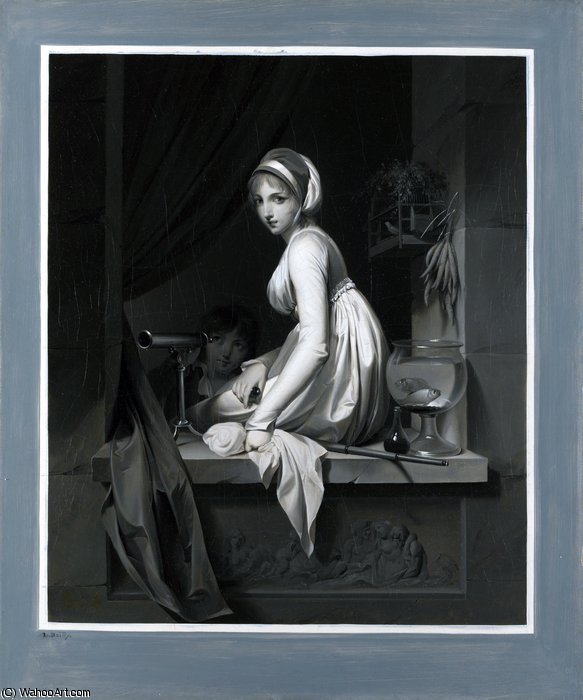 A Girl at a Window by Louis Léopold Boilly (1761-1845, France)