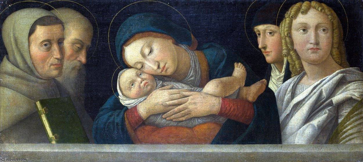 The Virgin and Child with Four Saints by Francesco Bonsignori (1460-1519, Italy) | Painting Copy | ArtsDot.com