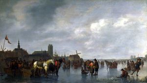 Abraham Pietersz Van Calraet - Scene on the Ice outside Dordrecht