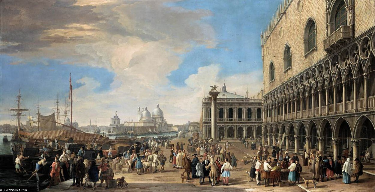 A View of the Molo by Luca Carlevaris (1663-1730, Italy)