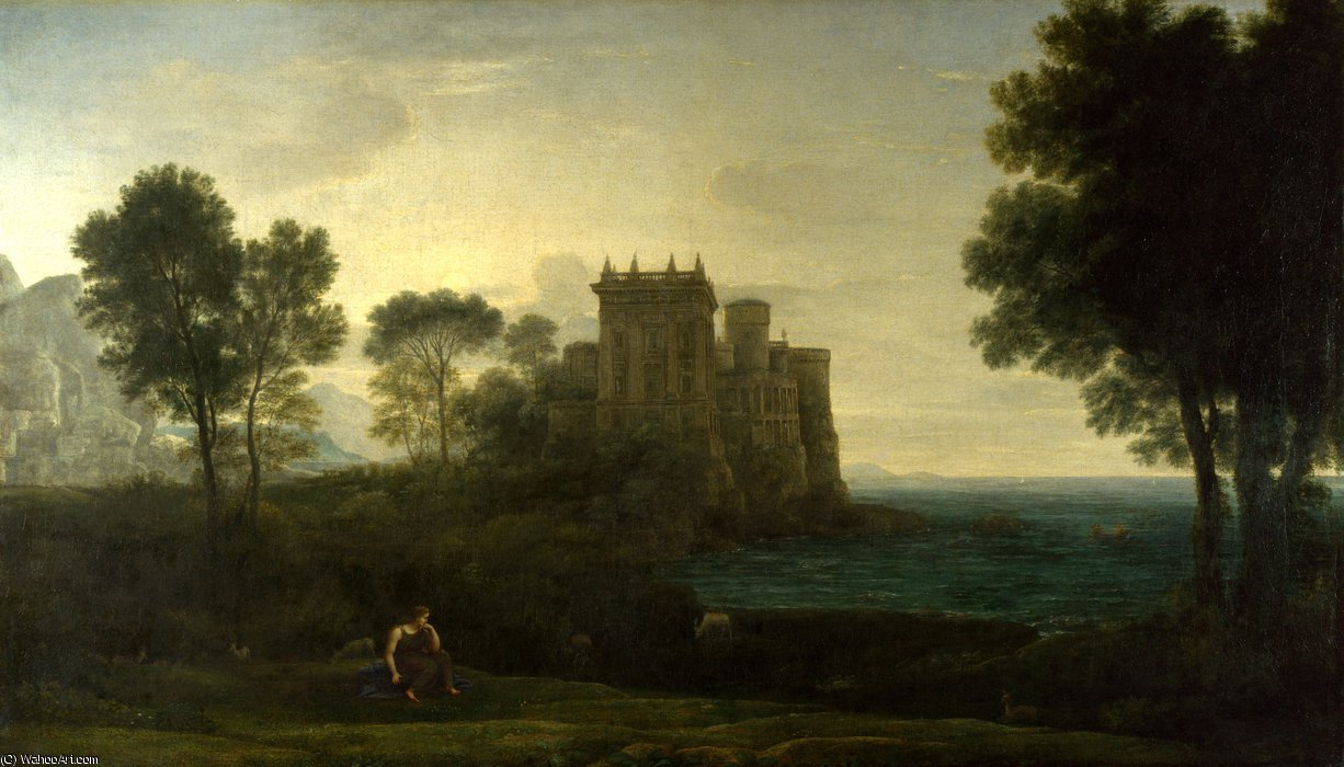 The enchanted castle by Claude Lorrain (Claude Gellée)