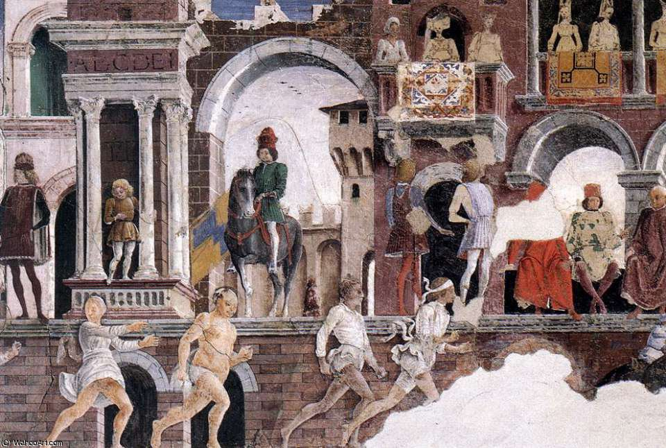 Schifanoia - April and May - Allegory of April (detail)2 by Francesco Del Cossa (1436-1477, Italy) | Painting Copy | ArtsDot.com