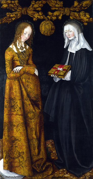 Saints Christina and Ottilia by Lucas Cranach The Elder (1472-1553, Germany)
