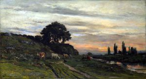 Charles François Daubigny - Landscape with Cattle by ..
