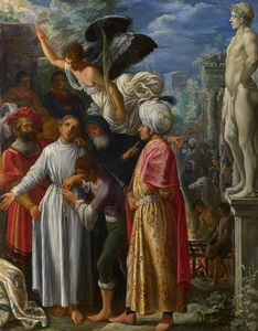 Adam Elsheimer - Saint Lawrence prepared for Ma..