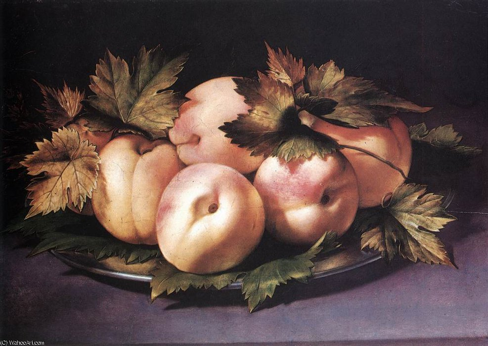 Still-life with Peaches and Fig-leaves by Giovanni Ambrogio Figino (1553-1608, Italy) | Paintings Reproductions Giovanni Ambrogio Figino | ArtsDot.com