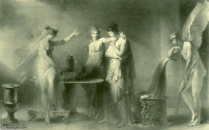 Psyche and Her two Sisters by Jean-Honoré Fragonard (1732-1806, France) | Museum Quality Reproductions | ArtsDot.com