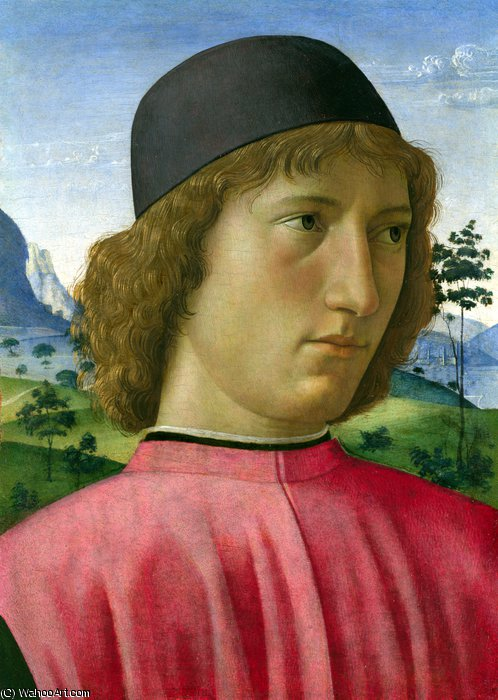 Portrait of a Young Man in Red by Domenico Ghirlandaio (1449-1494, Italy)
