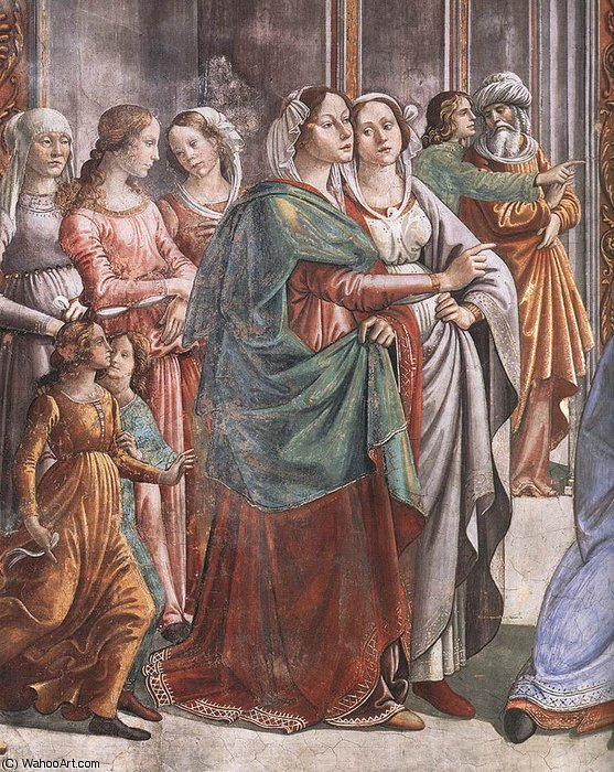 1.leftt wall - Marriage of Mary (detail) by Domenico Ghirlandaio (1449-1494, Italy)