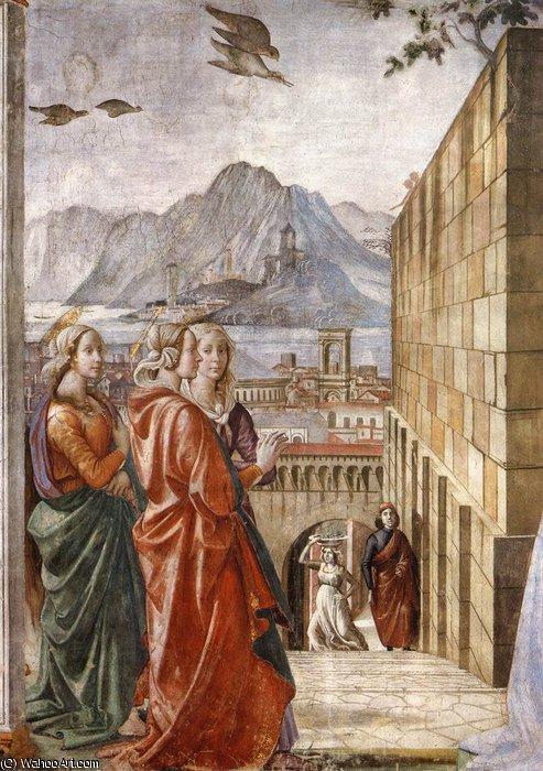 2.right wall - Visitation (detail)2 by Domenico Ghirlandaio (1449-1494, Italy)