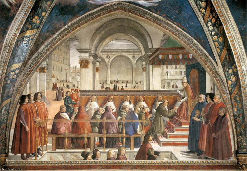 frescoes - Confirmation of the Rule by Domenico Ghirlandaio (1449-1494, Italy)