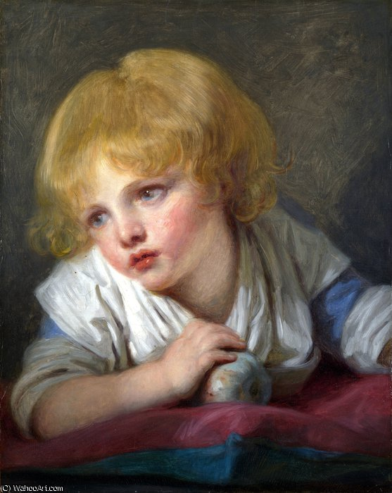 A Child with an Apple by Jean-Baptiste Greuze (1725-1805, France) | Museum Art Reproductions | ArtsDot.com