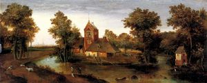 Abel Grimmer - A moated tower with farmhouses