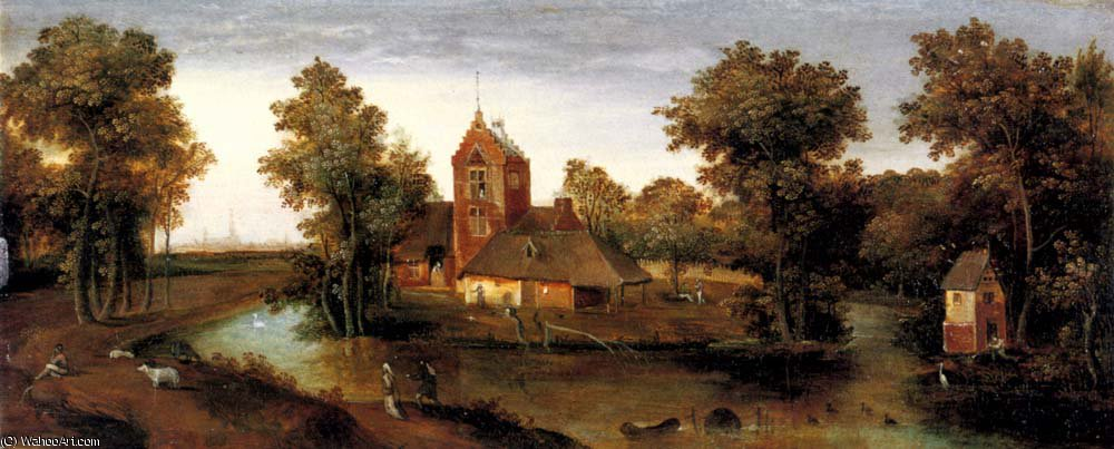 A moated tower with farmhouses by Abel Grimmer (1570-1620, Belgium)