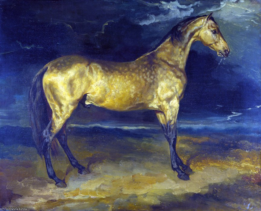 A Horse frightened by Lightning by Jean-Louis André Théodore Géricault (1791-1824, France)