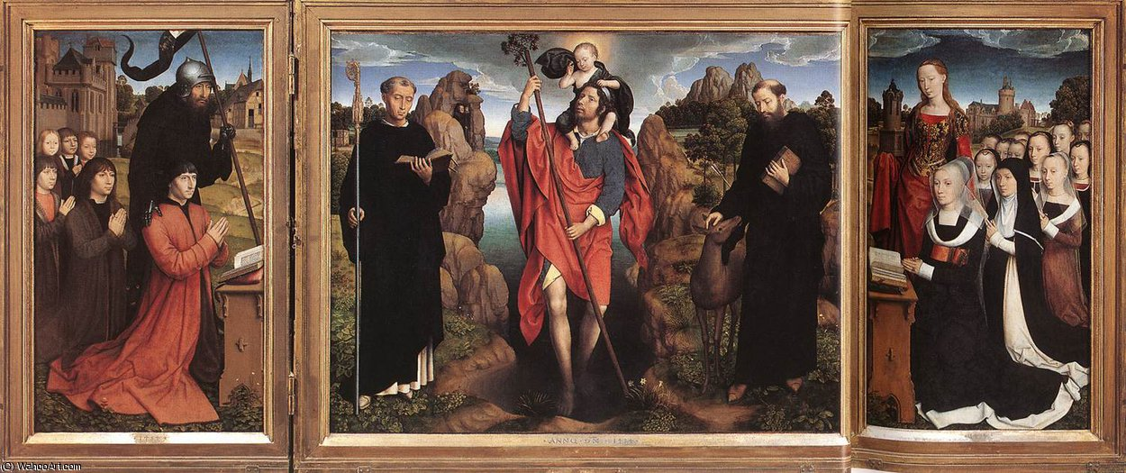 late - Triptych of the Family Moreel by Hans Memling (1430-1494, Germany) | Museum Art Reproductions Hans Memling | ArtsDot.com