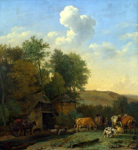Paulus Potter - A Landscape with Cows, Sheep a..