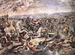 Raphael (Raffaello Sanzio Da Urbino) - The Battle at Pons Milvius (detail)