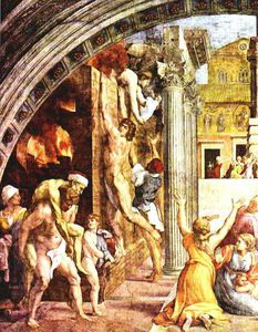 Raphael (Raffaello Sanzio Da Urbino) - The Borgo Fire in A.D. 847 (left view)