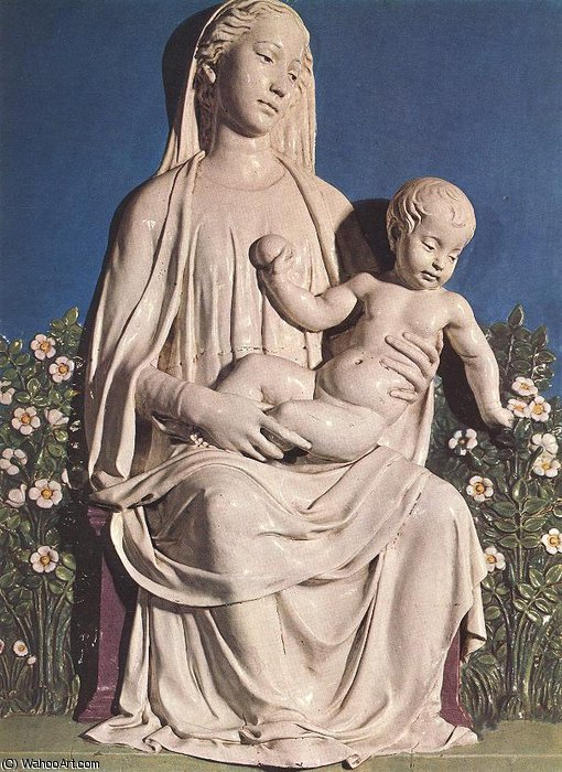 Madonna of Roses by Luca Della Robbia (1399-1482, Italy)