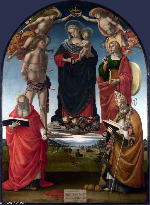 The Virgin and Child with Saints by Luca Signorelli (1445-1523, Italy)