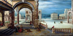 Hendrick Van Steenwijck The Younger - Courtyard of a Renaissance Palace