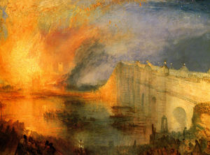 William Turner - The Burning of the Hause ..