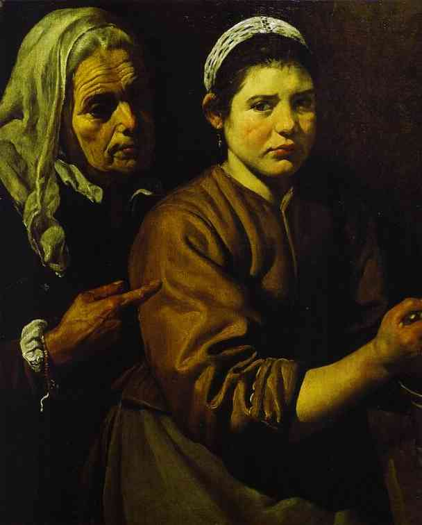 Christ in the House of Martha and Mary d by Diego Velazquez (1599-1660, Spain)