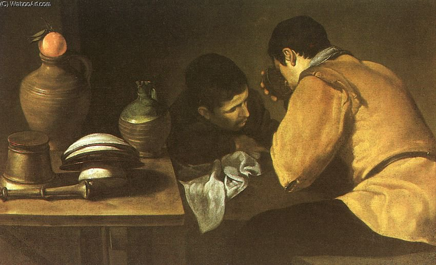 Two Men at a Table by Diego Velazquez (1599-1660, Spain)