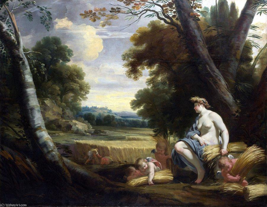 Ceres and Harvesting Cupids by Simon Vouet (1590-1649, France)