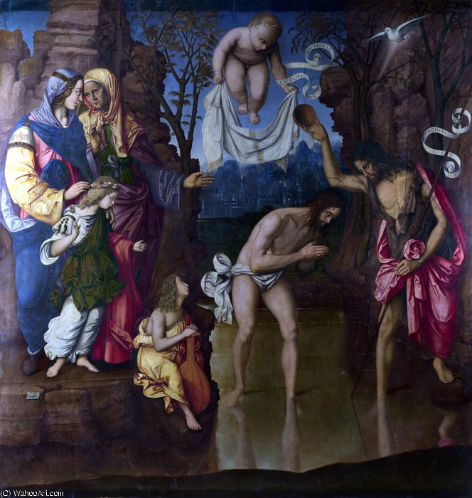 Buy Museum Art Reproductions | The Baptism of Christ by Francesco Di Bosio Zaganelli (1475-1532, Italy) | ArtsDot.com