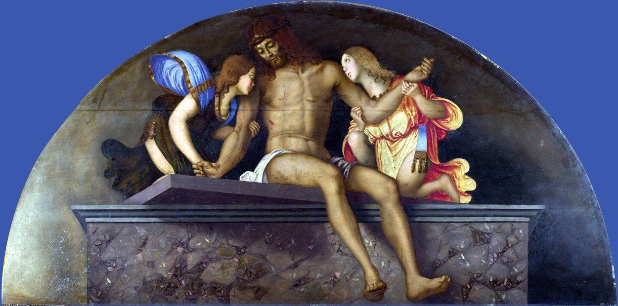 The Dead Christ with Angels by Francesco Di Bosio Zaganelli (1475-1532, Italy)
