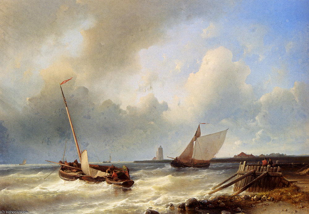 Snr abraham shipping off the dutch coast by Abraham Hulk Senior (1813-1897, Netherlands) | Museum Quality Reproductions | ArtsDot.com