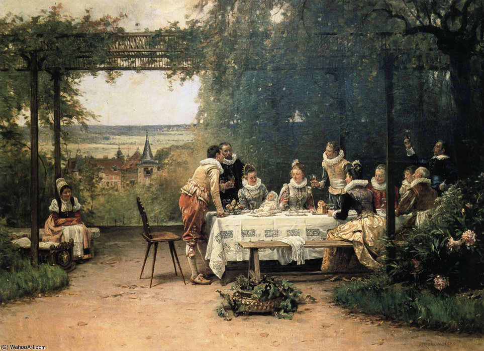 Toast to the Heir Presumptive by Adrien Moreau (1843-1906, France) | Painting Copy | ArtsDot.com