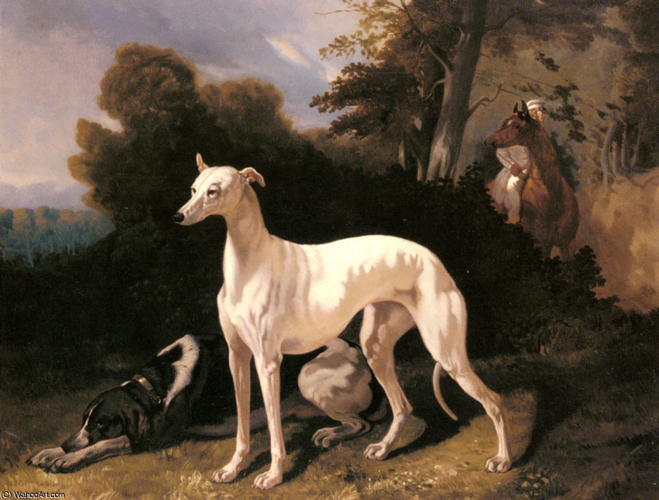 A greyhound in an extensive landscape by Alfred De Dreux (1810-1860, France) | Paintings Reproductions Alfred De Dreux | ArtsDot.com
