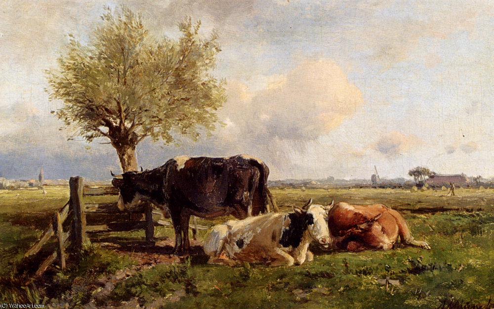Resting cows by Anton Mauve (1838-1888, Netherlands) | Art Reproduction | ArtsDot.com