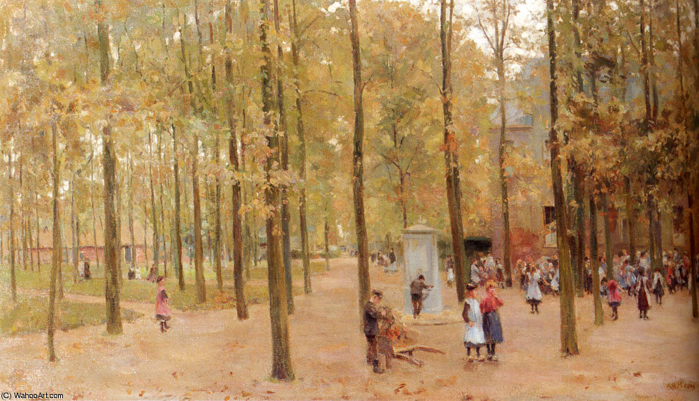 The brink in laren with children playing by Anton Mauve (1838-1888, Netherlands) | ArtsDot.com
