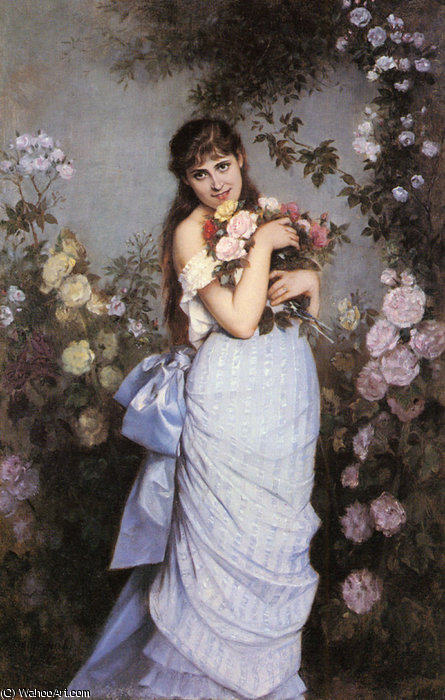 A young woman in a rose garden by Auguste Toulmouche (1829-1890, France)