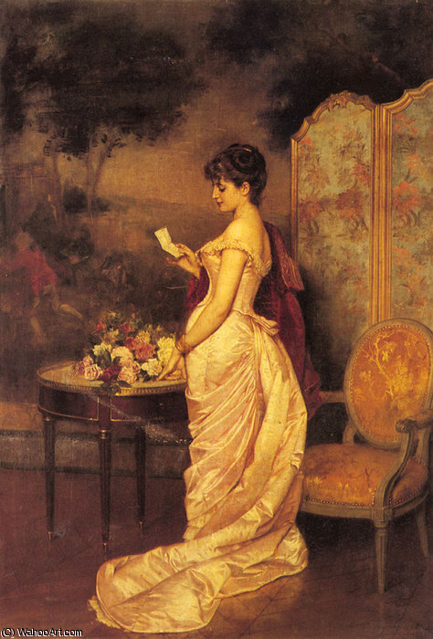 The love letter by Auguste Toulmouche (1829-1890, France)