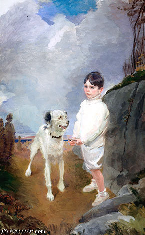 Lane Lovell and His Dog HTG by Cecilia Beaux (1855-1942, United States)