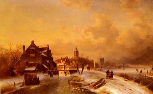 Charles Henri Joseph Leickert - Winter And Summer Canal Scenes-Scene