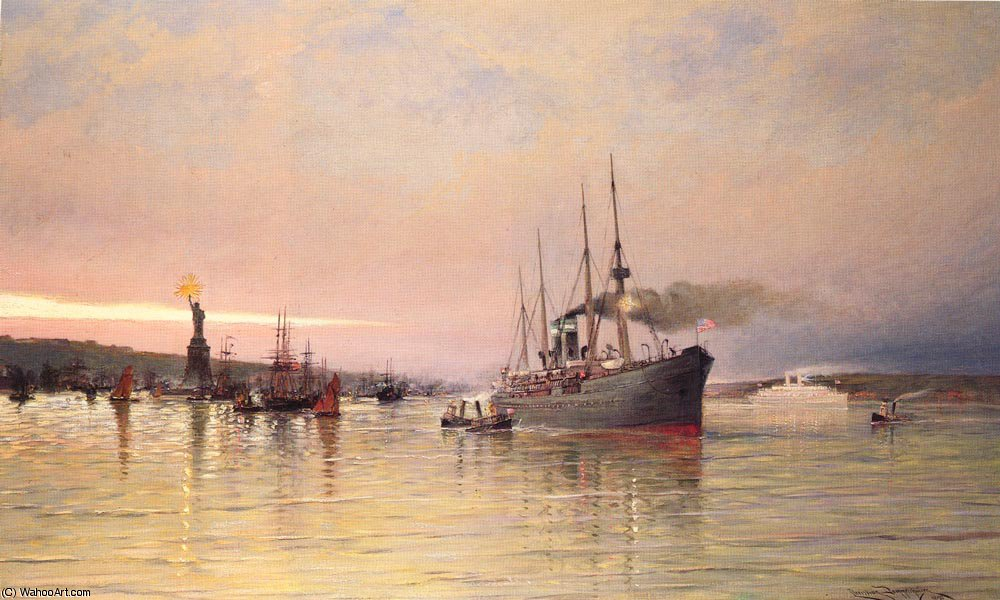 A view of new york harbor by Cornelis Christiaan Dommelshuizen (1842-1928, Netherlands)