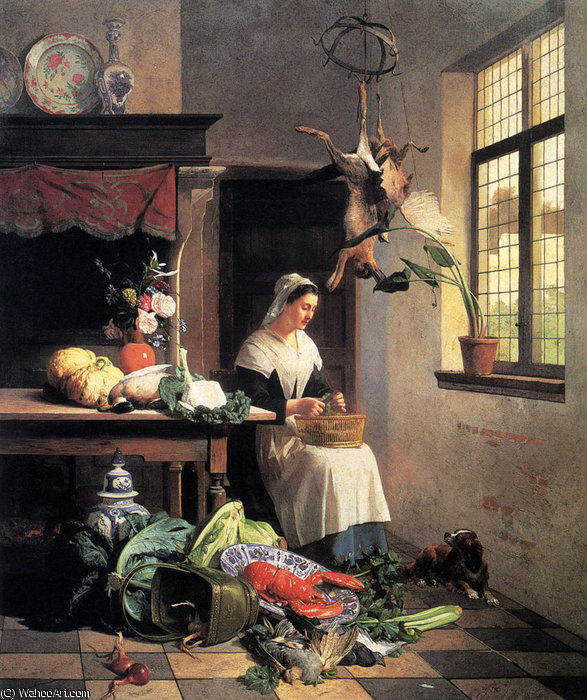 a maid in the kitchen by David Emile Joseph De Noter (1818-1892, Belgium)