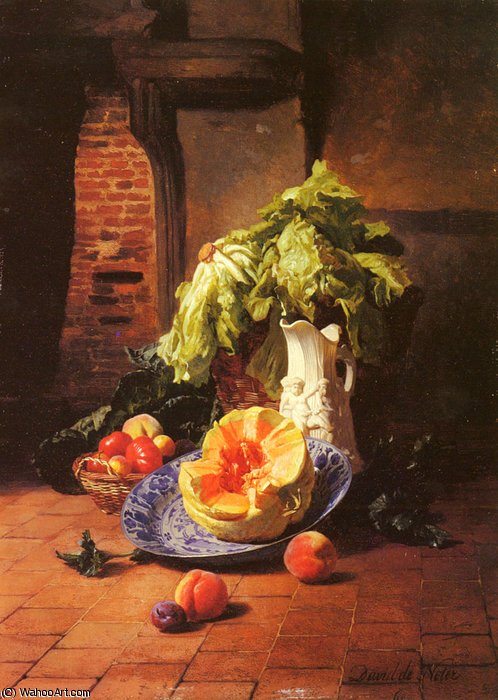 a still life with a white porcelain pitcher fruit and vegetables by David Emile Joseph De Noter (1818-1892, Belgium)