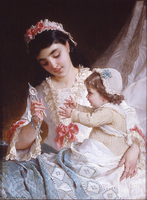 Nd 10 distracting the baby by Emile Munier (1840-1895, France) | Museum Art Reproductions | ArtsDot.com