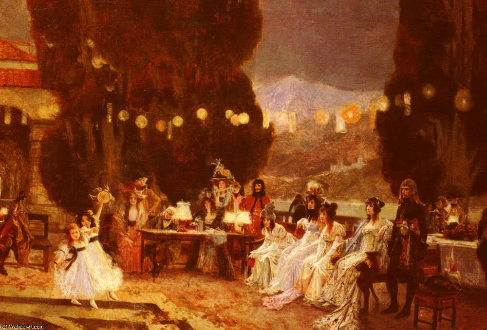 An evening-s entertainment for josephine by Francois Flameng (1856-1923, France)