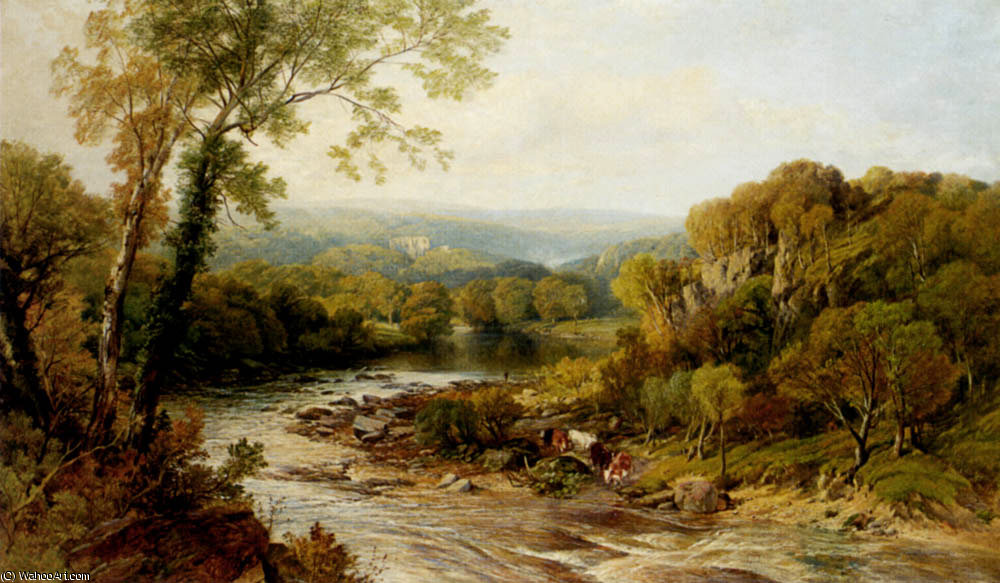 Barden tower onj the wharfe yorkshire by Frederick William Hulme (1816-1884, United Kingdom)